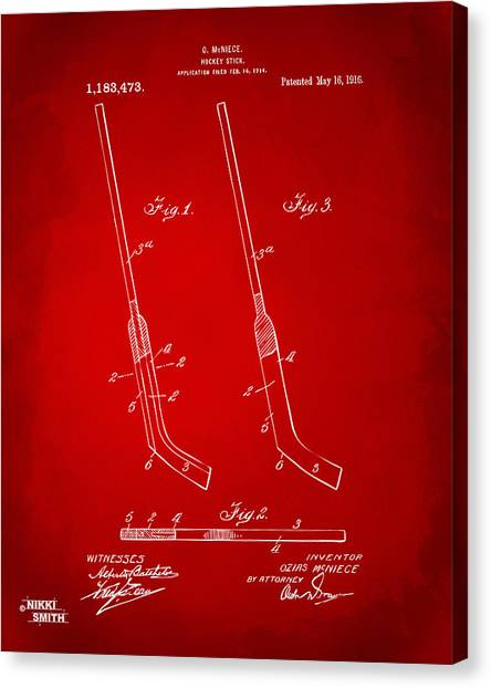 Hockey Players Canvas Print - 1916 Hockey Goalie Stick Patent Artwork - Red by Nikki Marie Smith