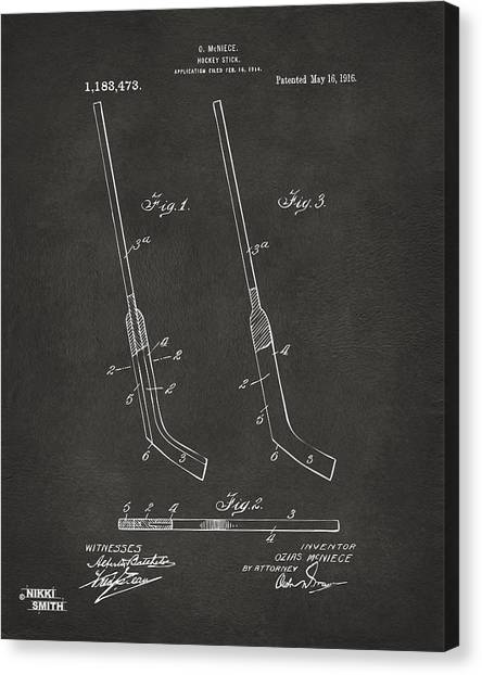 Hockey Players Canvas Print - 1916 Hockey Goalie Stick Patent Artwork - Gray by Nikki Marie Smith