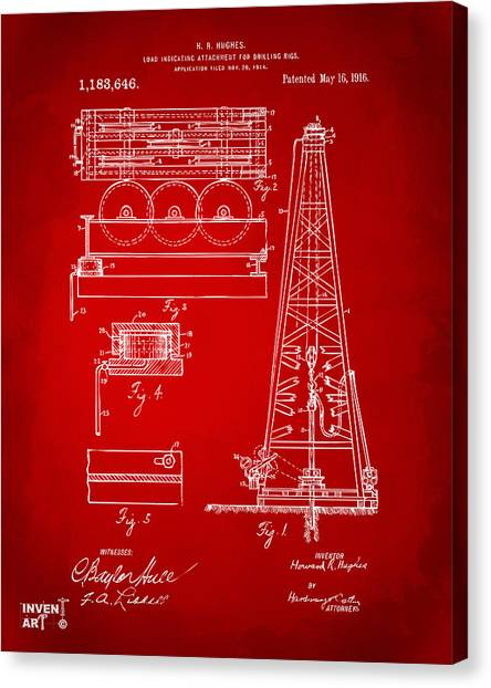 Oil Rigs Canvas Print - 1916 Oil Drilling Rig Patent Artwork - Red by Nikki Marie Smith