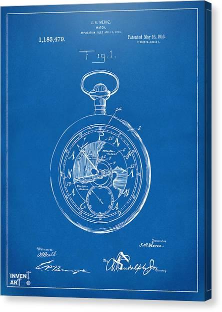 Ticks Canvas Print - 1916 Pocket Watch Patent Red by Nikki Marie Smith