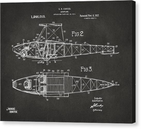 Airplane blueprint canvas prints fine art america airplane blueprint canvas print 1917 glenn curtiss aeroplane patent artwork 2 gray by nikki malvernweather Images