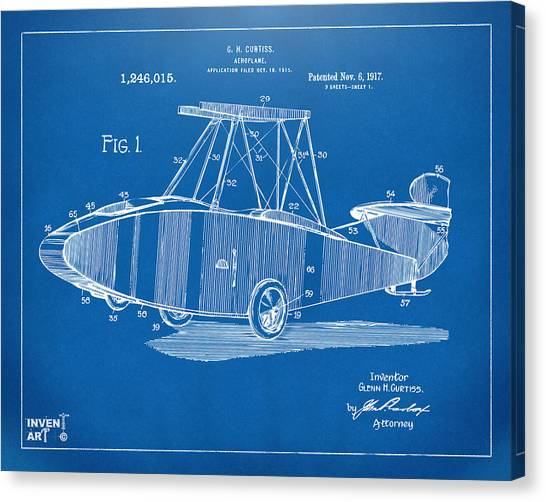 Airplane blueprint canvas prints fine art america airplane blueprint canvas print 1917 glenn curtiss aeroplane patent artwork blueprint by nikki marie smith malvernweather Images