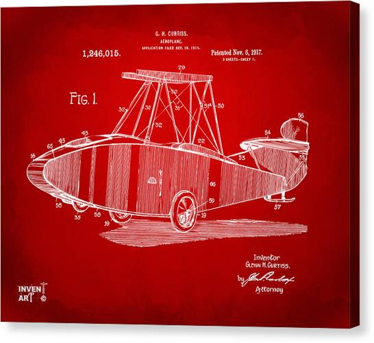 Airplane blueprint canvas prints fine art america airplane blueprint canvas print 1917 glenn curtiss aeroplane patent artwork red by nikki marie smith malvernweather Images