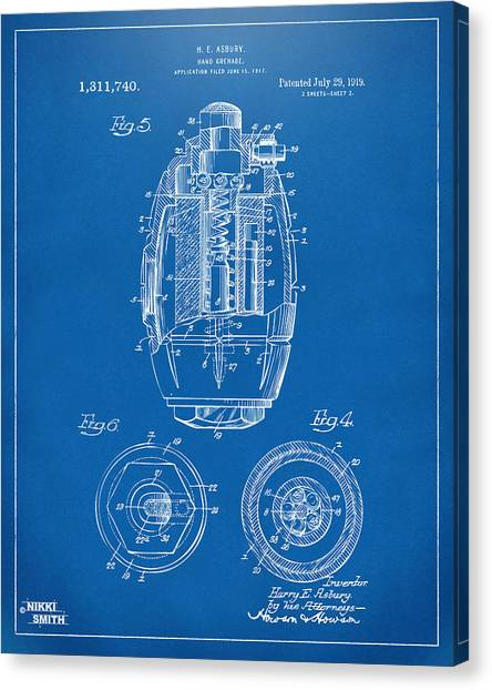 Grenades Canvas Print - 1919 Hand Grenade Patent Artwork - Blueprint by Nikki Marie Smith