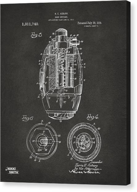 Grenades Canvas Print - 1919 Hand Grenade Patent Artwork - Gray by Nikki Marie Smith