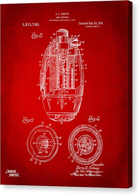 Grenades Canvas Print - 1919 Hand Grenade Patent Artwork - Red by Nikki Marie Smith