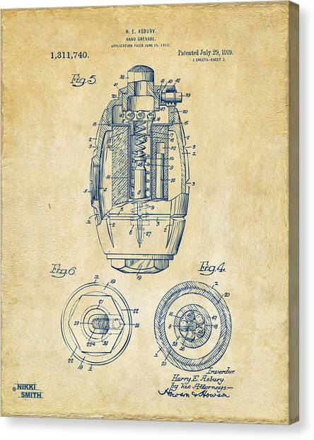 Grenades Canvas Print - 1919 Hand Grenade Patent Artwork - Vintage by Nikki Marie Smith