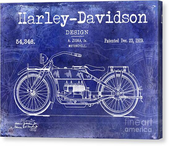 Ducati Canvas Print - 1919 Harley Davidson Patent Drawing Blue by Jon Neidert