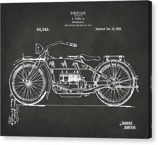 Canvas Print featuring the digital art 1919 Motorcycle Patent Artwork - Gray by Nikki Marie Smith
