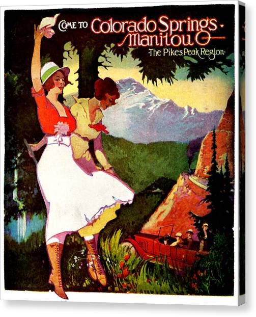 1919 Pikes Peak Colorado Poster Canvas Print