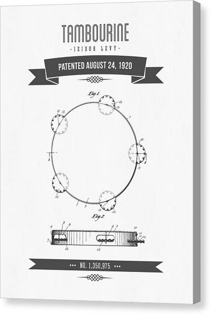 Tambourines Canvas Print - 1920 Levy Tambourine Patent Drawing by Aged Pixel