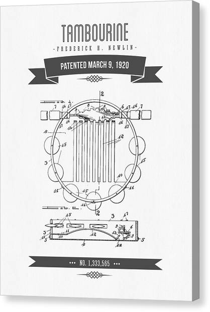 Tambourines Canvas Print - 1920 Tambourine Patent Drawing by Aged Pixel