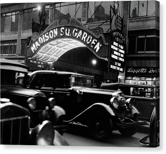 Drugstore Canvas Print - 1920s 1930s Cars Taxis Madison Square by Vintage Images