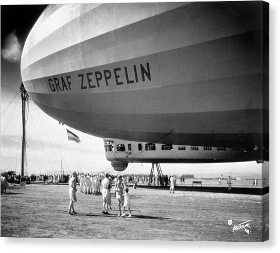 Blimps Canvas Print - 1920s 1930s People Looking At Gondola by Vintage Images