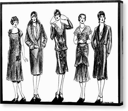 Fashion Plate Canvas Print - 1920s Black And White by Mel Thompson