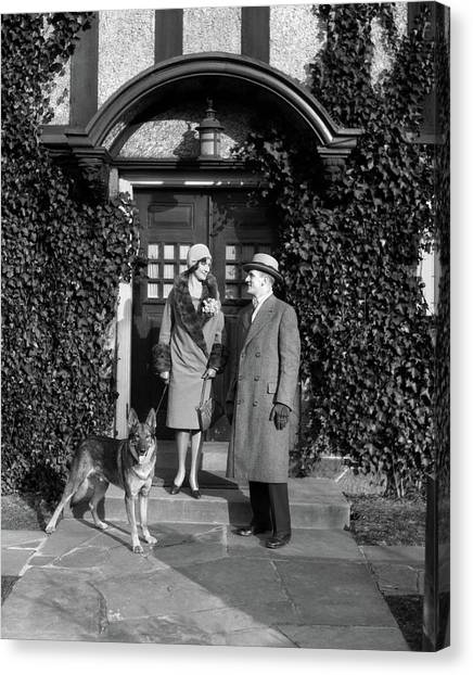 Hard Hat Canvas Print - 1920s Couple Wearing Coat Hat Gloves by Vintage Images