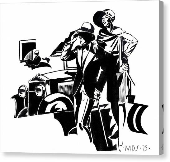 Classic Car Drawings Canvas Print - 1920s Deco Car by Mel Thompson