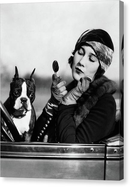 Motoring Canvas Print - 1920s Flapper In Convertible Powdering by Vintage Images