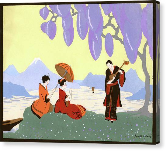 Japanese Umbrella Canvas Print - 1920s Japanese Man Playing Music by Vintage Images