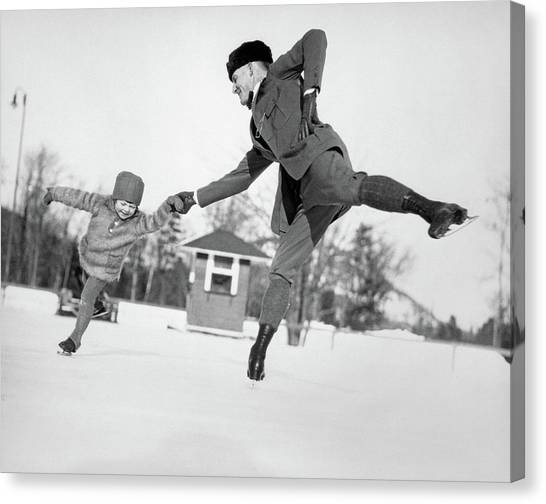 Figure Skating Canvas Print - 1920s Man Father And Little Girl by Vintage Images