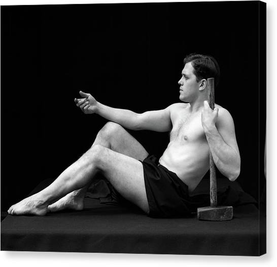 Vulcans Canvas Print - 1920s Man Semi Nude Classical Pose by Vintage Images
