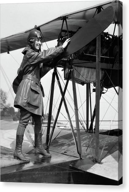 Womens Rights Canvas Print - 1920s Smiling Woman Aviator Turning by Vintage Images