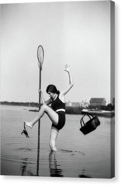 Fishing Poles Canvas Print - 1920s Woman Crabbing Surprised By Crab by Vintage Images