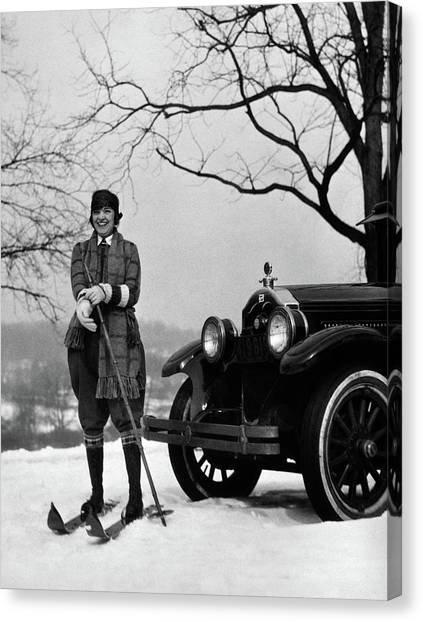 Motoring Canvas Print - 1920s Woman On Skis Standing In Front by Vintage Images