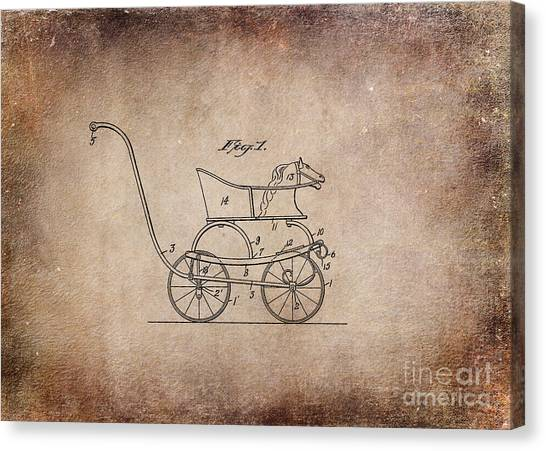 Vintage Canvas Print - 1921 Baby Carriage Aged Horse by Lesa Fine