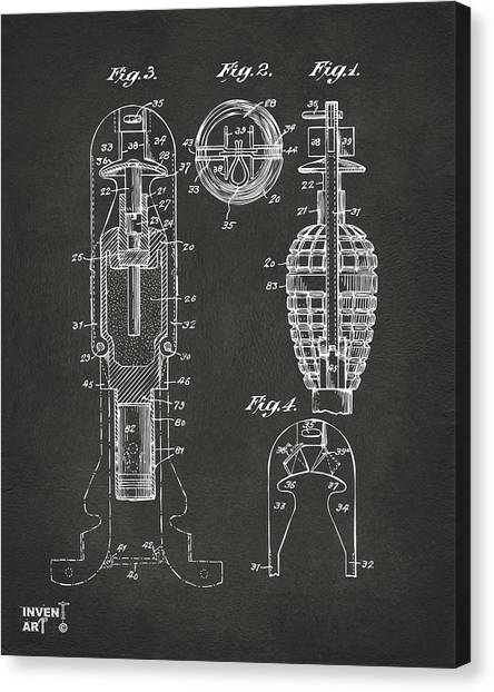 Missles Canvas Print - 1921 Explosive Missle Patent Minimal Gray by Nikki Marie Smith