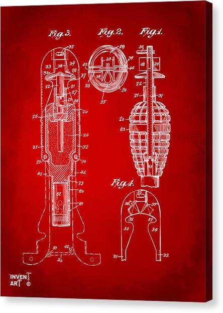 Missles Canvas Print - 1921 Explosive Missle Patent Minimal Red by Nikki Marie Smith