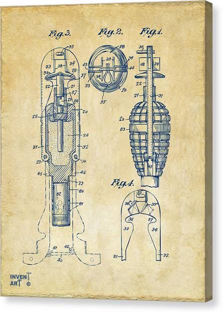 Missles Canvas Print - 1921 Explosive Missle Patent Minimal Vintage by Nikki Marie Smith
