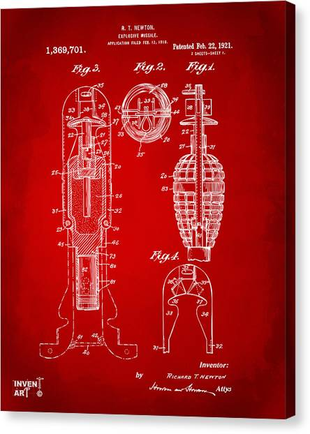 Missles Canvas Print - 1921 Explosive Missle Patent Red by Nikki Marie Smith