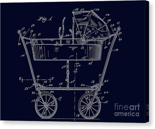 1922 Baby Carriage Patent Art Blueprint Canvas Print