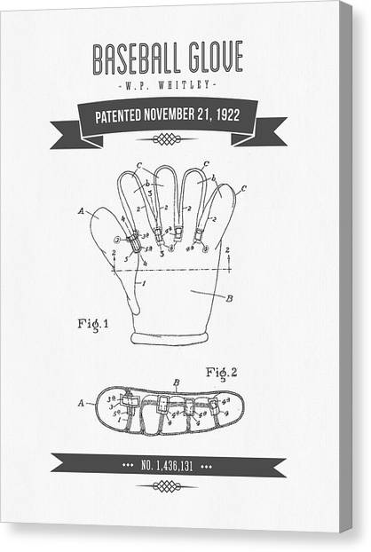 Softball Canvas Print - 1922 Baseball Glove Patent Drawing by Aged Pixel