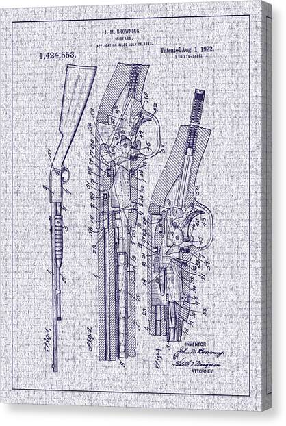 1922 Browning Firearm Patent Canvas Print by Barry Jones