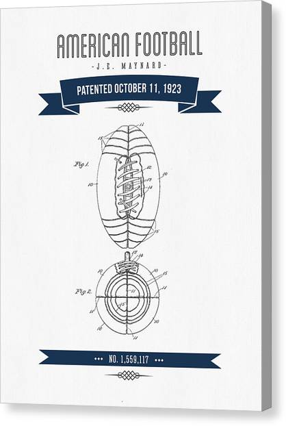 Gridiron Canvas Print - 1923 American Football Patent Drawing - Retro Navy Blue by Aged Pixel