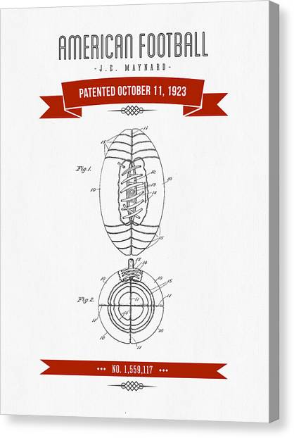 Gridiron Canvas Print - 1923 American Football Patent Drawing - Retro Red by Aged Pixel