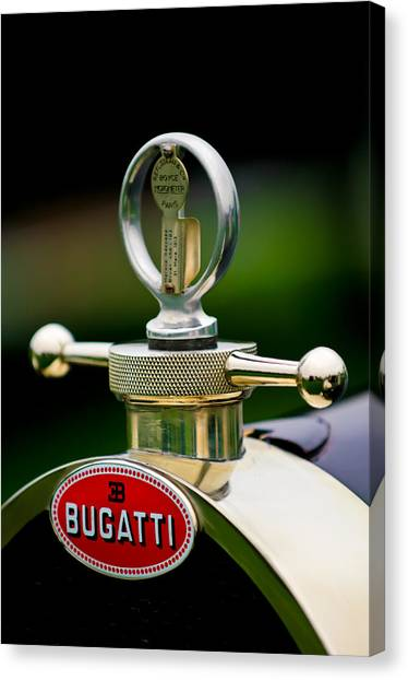 23 Canvas Print - 1923 Bugatti Type 23 Brescia Lavocat Et Marsaud Hood Ornament by Jill Reger