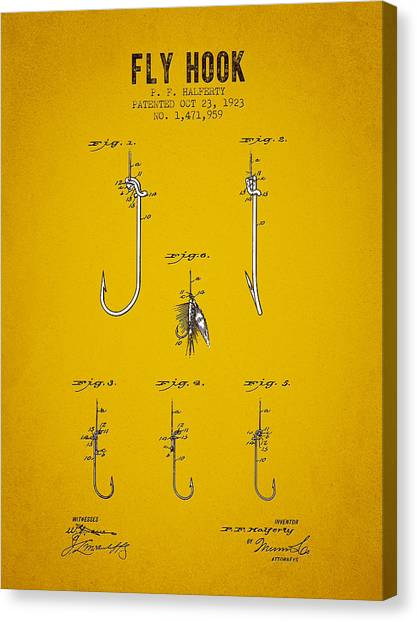 Bass Fishing Canvas Print - 1923 Fly Hook Patent - Yellow Brown by Aged Pixel