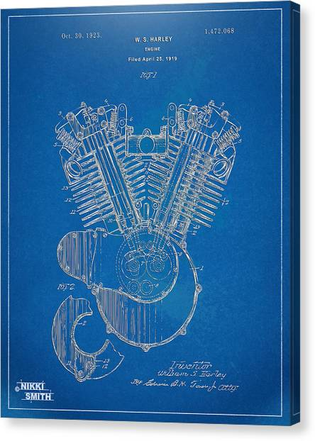 Canvas Print featuring the digital art 1923 Harley Davidson Engine Patent Artwork - Blueprint by Nikki Smith
