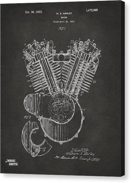 Canvas Print featuring the digital art 1923 Harley Engine Patent Art - Gray by Nikki Marie Smith
