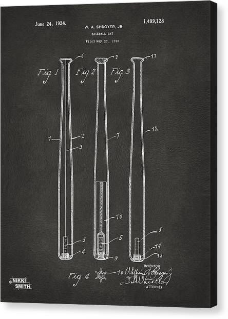 Baseball Players Canvas Print - 1924 Baseball Bat Patent Artwork - Gray by Nikki Marie Smith