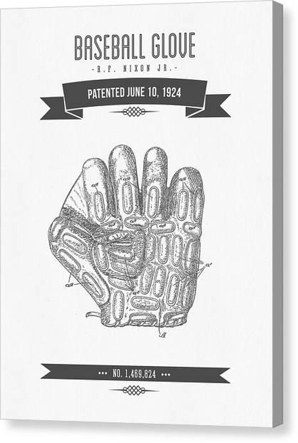 Baseball Gloves Canvas Print - 1924 Baseball Glove Patent Drawing by Aged Pixel