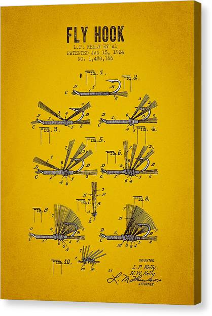 Bass Fishing Canvas Print - 1924 Fly Hook Patent - Yellow Brown by Aged Pixel