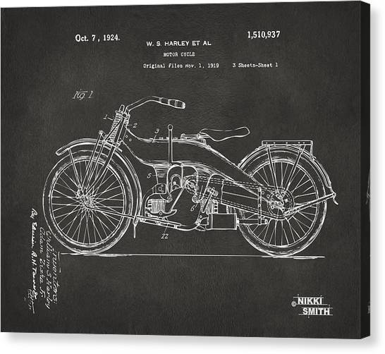 Bicycle Canvas Print - 1924 Harley Motorcycle Patent Artwork - Gray by Nikki Marie Smith