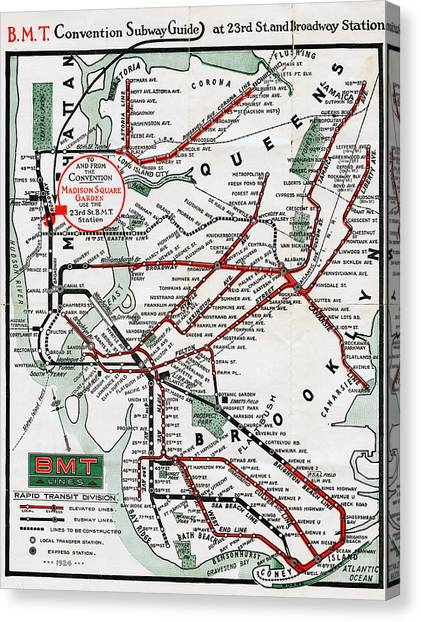 1924 Map Brooklyn Manhattan Transit Canvas Print