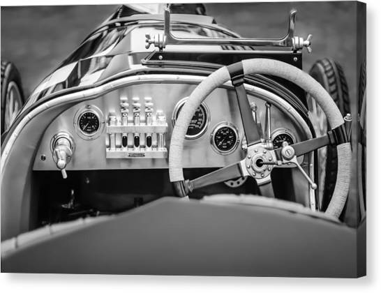 Martin Canvas Print - 1925 Aston Martin 16 Valve Twin Cam Grand Prix Steering Wheel -0790bw by Jill Reger