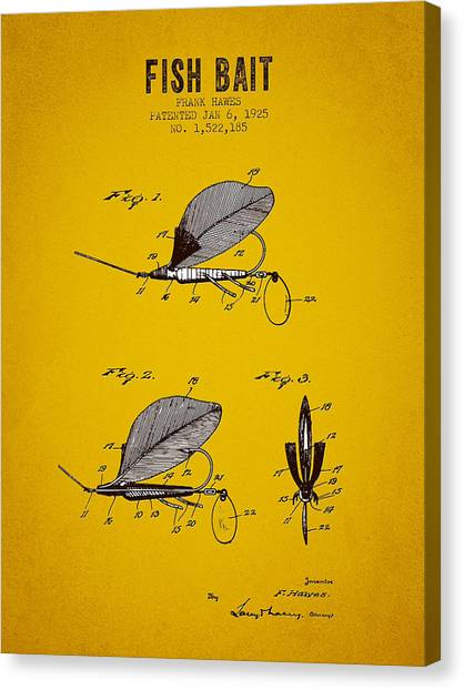 Bass Fishing Canvas Print - 1925 Fish Bait Patent - Yellow Brown by Aged Pixel