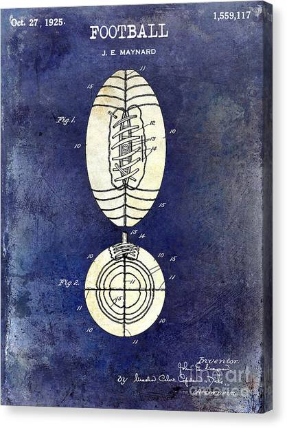 Houston Texans Canvas Print - 1925 Football Patent Drawing 2 Tone Blue by Jon Neidert